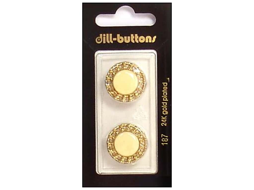 Dill Shank Buttons 13/16 in. Enamel Ivory/Gold #187 2 pc.