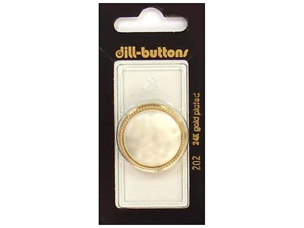 Dill Shank Buttons 1 1/8 in. White/Gold #202 1 pc.