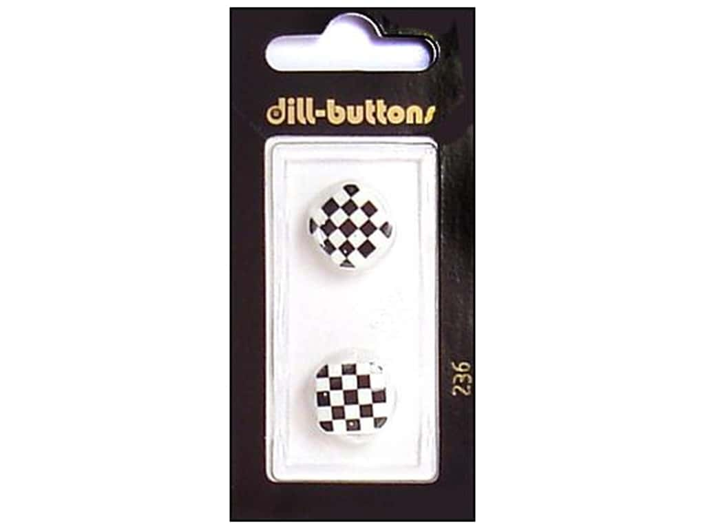 Dill Shank Buttons 5/8 in. White and Black Check #236 2 pc.