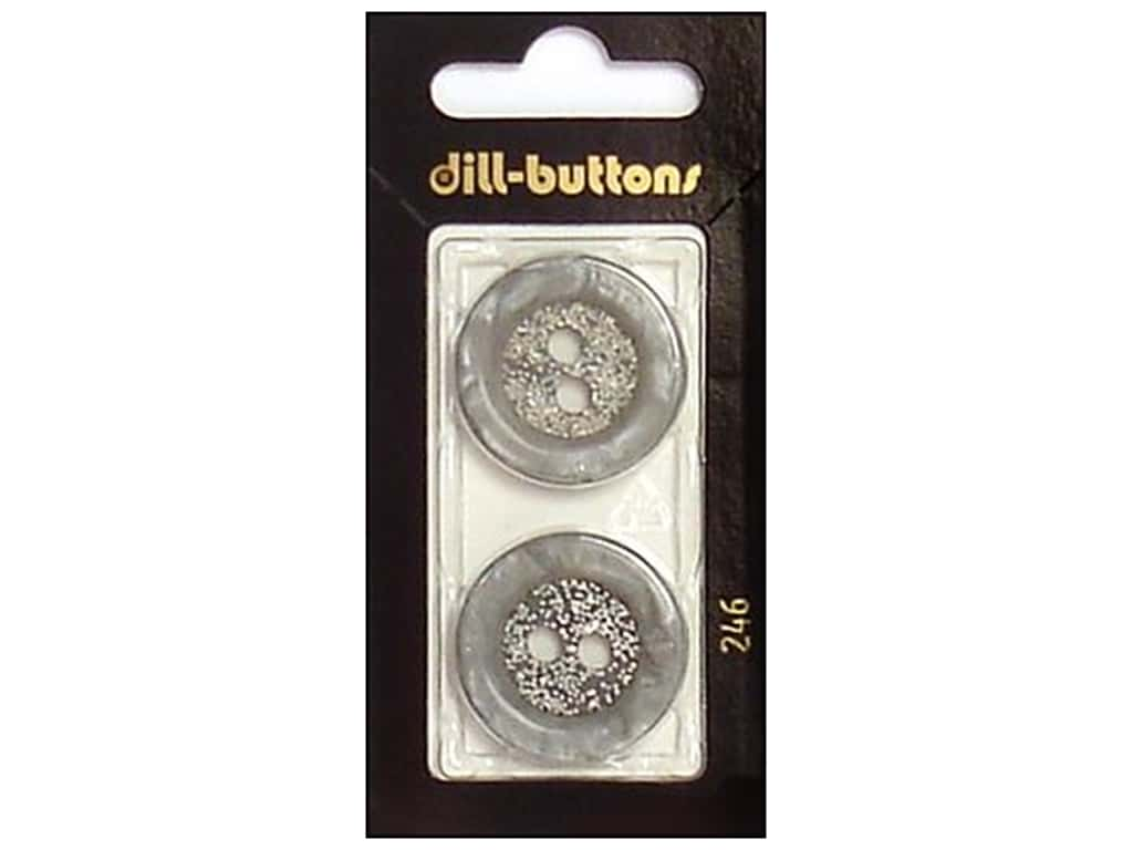 Dill 2 Hole Buttons 1 in. Grey #246 2 pc.