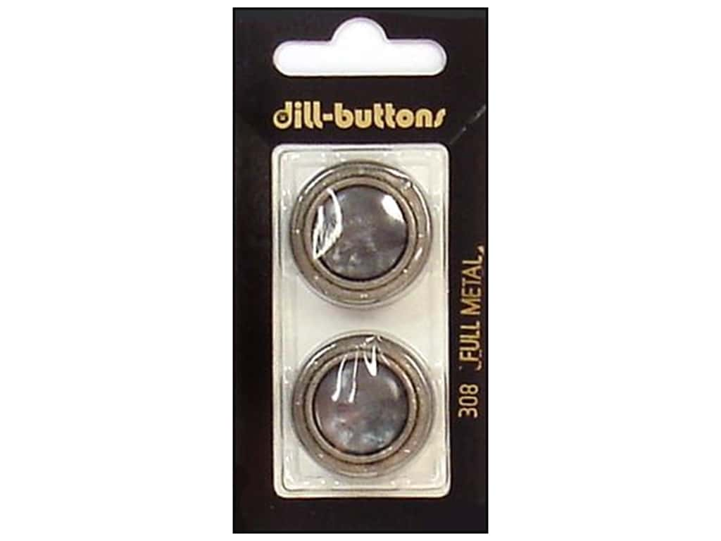 Dill Shank Buttons 1 in. Grey/Silver Metal #308 2 pc.