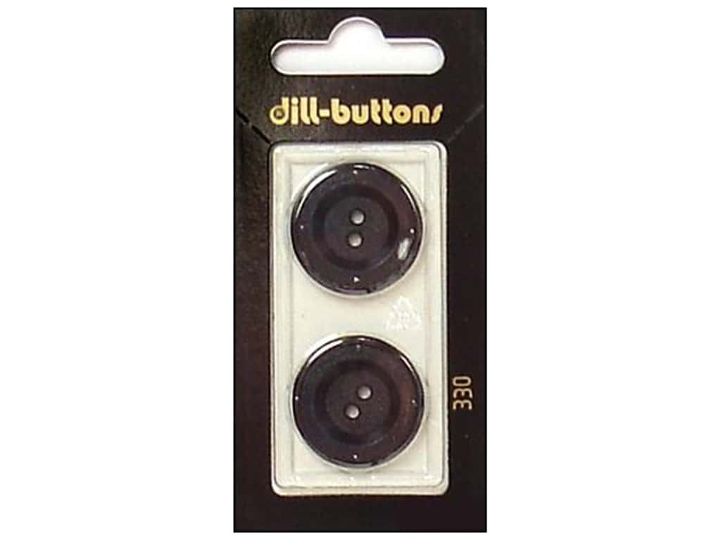 Dill 2 Hole Buttons 7/8 in. Black #330 2 pc.