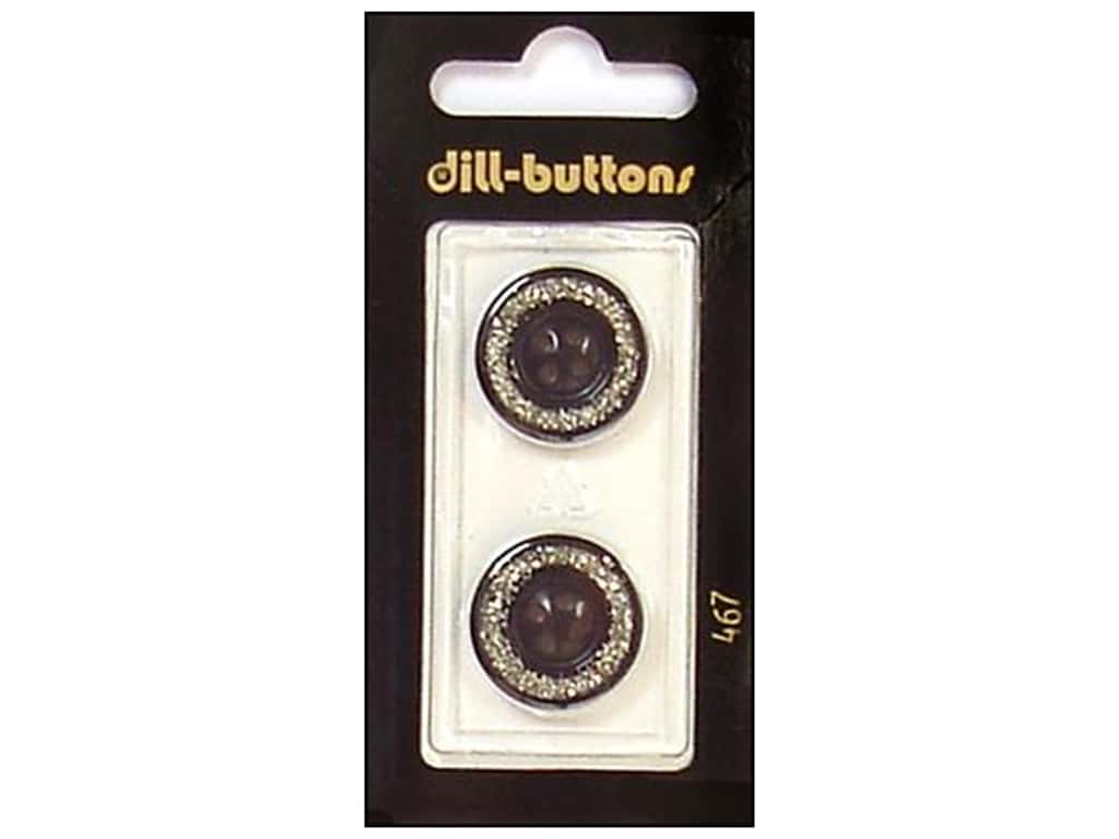 Dill 4 Hole Buttons 3/4 in. Enamel Black/Silver #467 2 pc.
