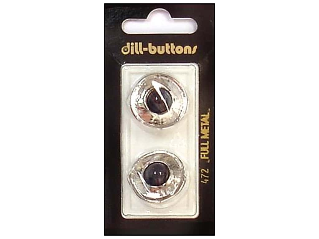 Dill Shank Buttons 7/8 in. Black/Silver Metal #472 2 pc.