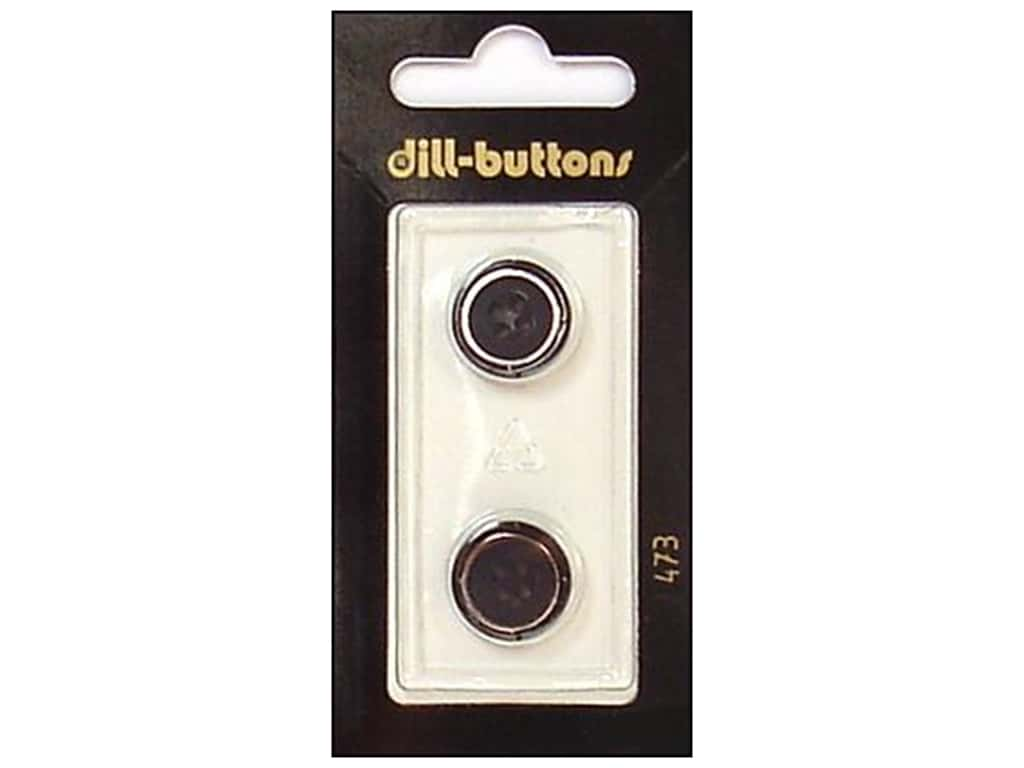 Dill 4 Hole Buttons 5/8 in. Black/Silver #473 2 pc.