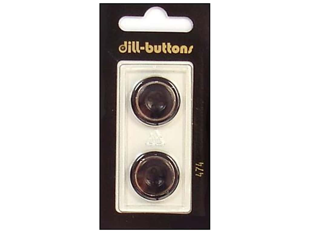 Dill 4 Hole Buttons 13/16 in. Black/Silver #474 2 pc.