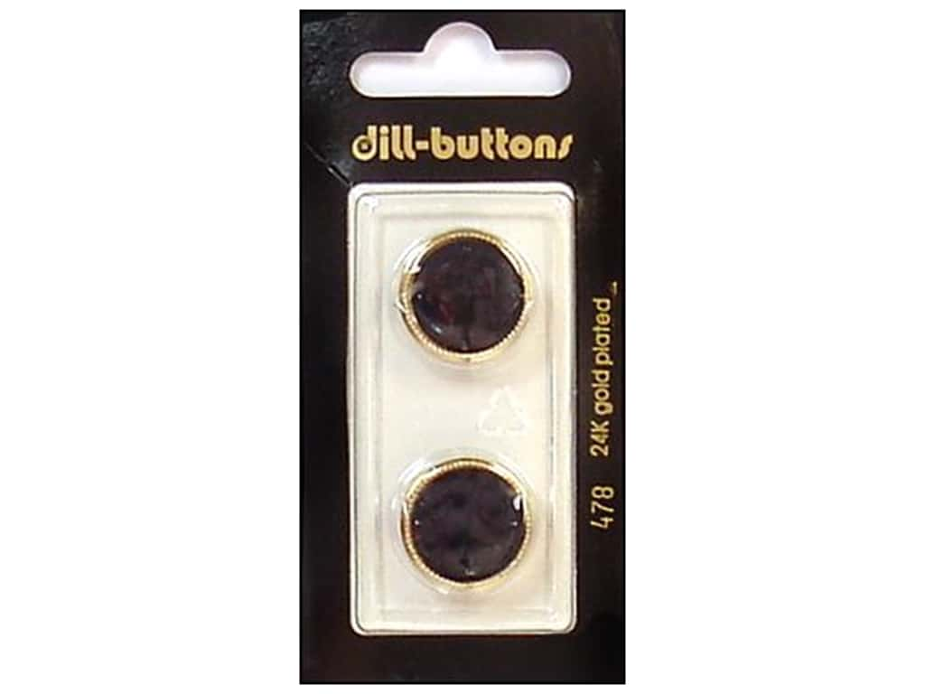 Dill Shank Buttons 11/16 in. Black/Gold #478 2 pc.
