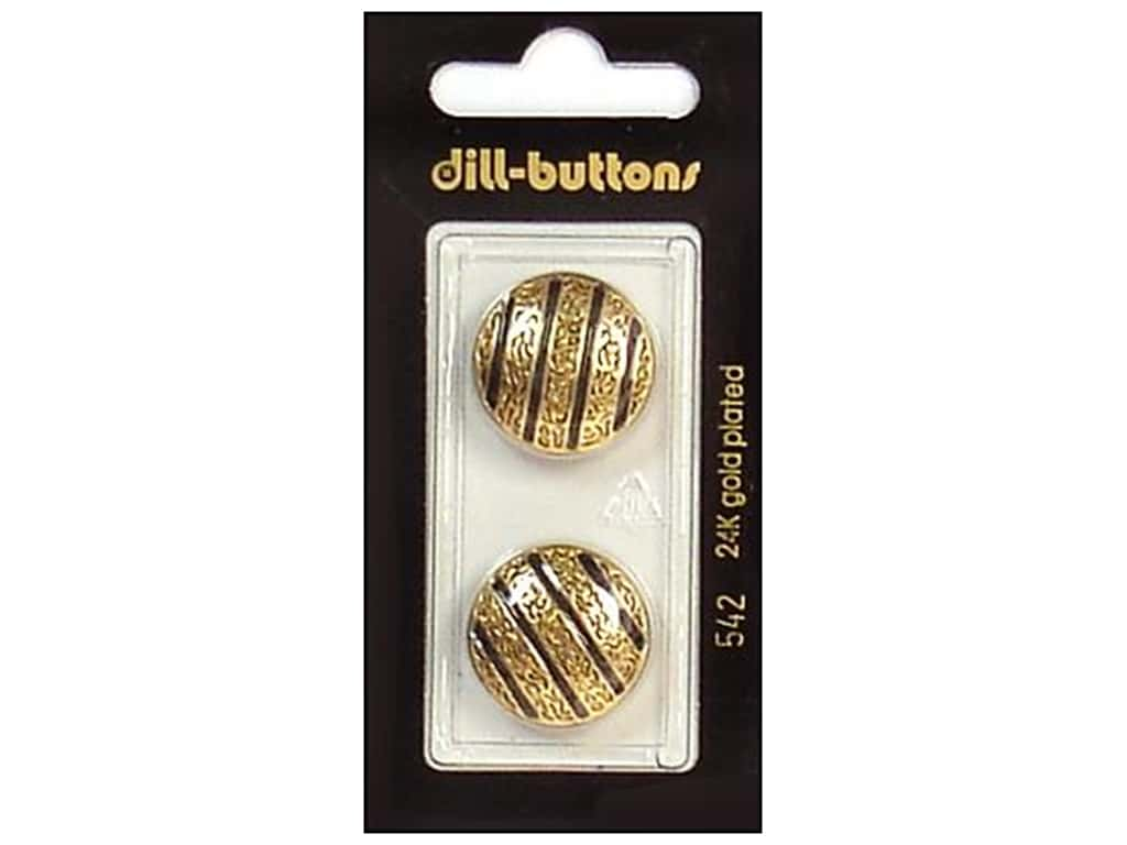 Dill Shank Buttons 13/16 in. Enamel Black/Gold #542 2 pc.