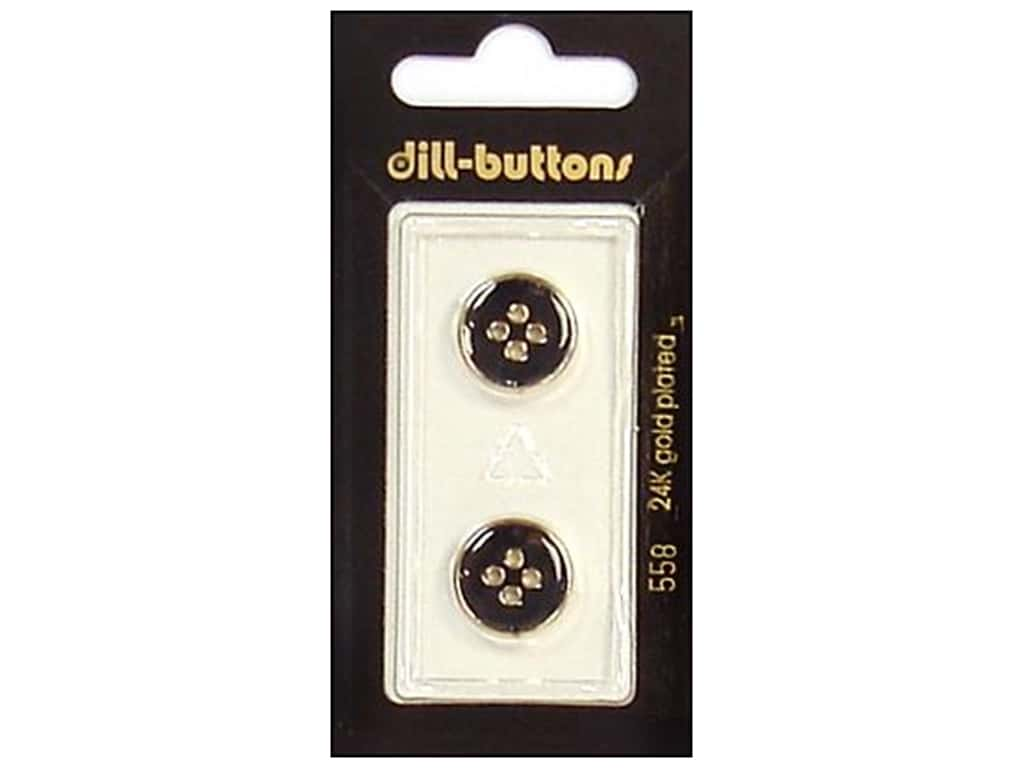 Dill 4 Hole Buttons 5/8 in. Enamel Black/Gold #558 2 pc.