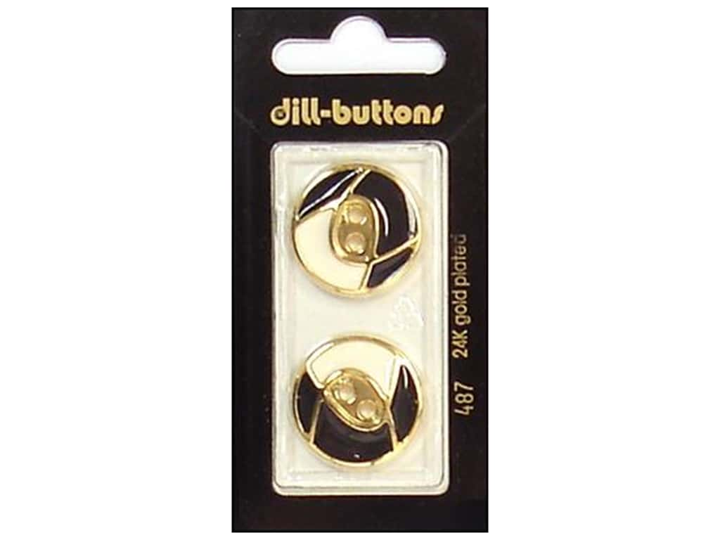 Dill 2 Hole Buttons 7/8 in. Enamel Black/White/Gold #487 2 pc.