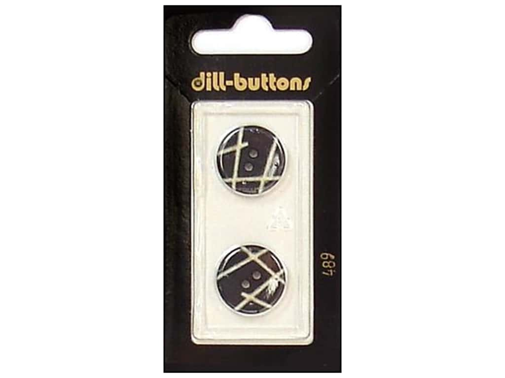 Dill 2 Hole Buttons 11/16 in. Black #489 2 pc.