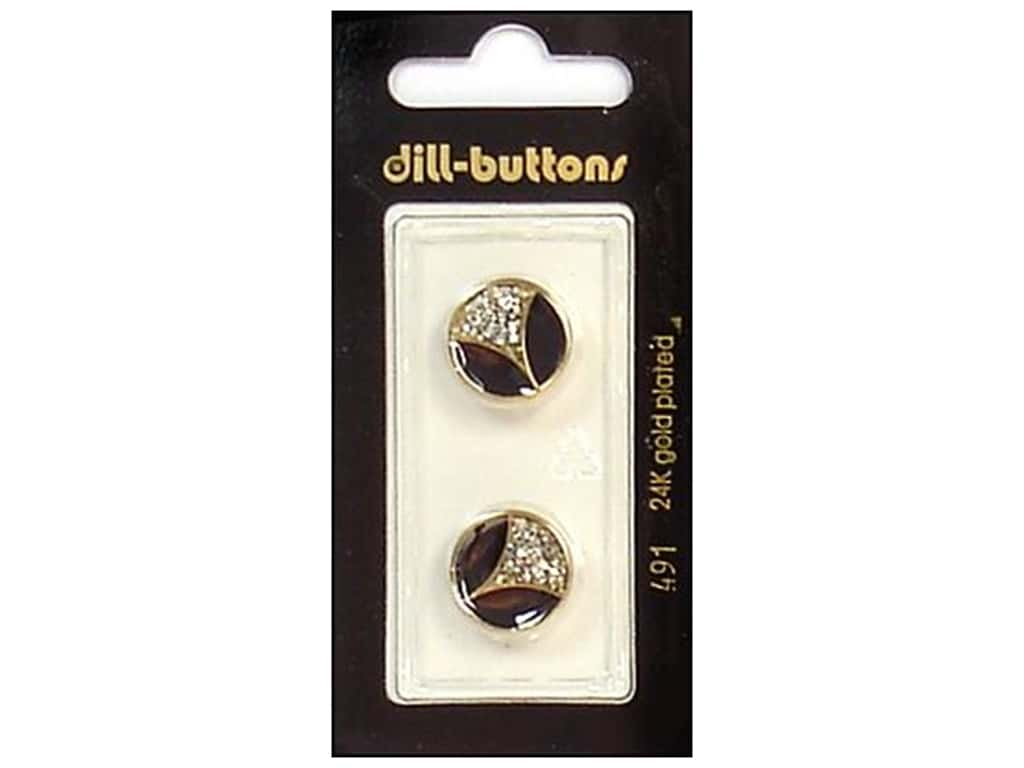 Dill Shank Buttons 5/8 in. Enamel Black/Gold/Silver #491 2 pc.