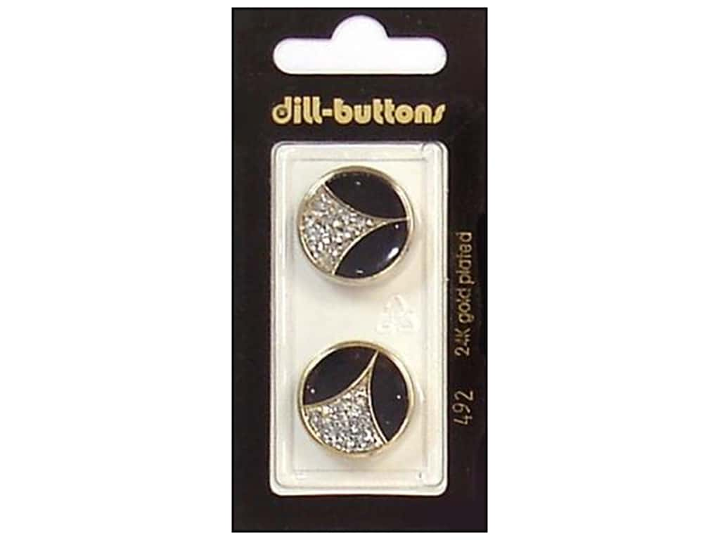 Dill Shank Buttons 13/16 in. Enamel Black/Gold/Silver #492 2 pc.
