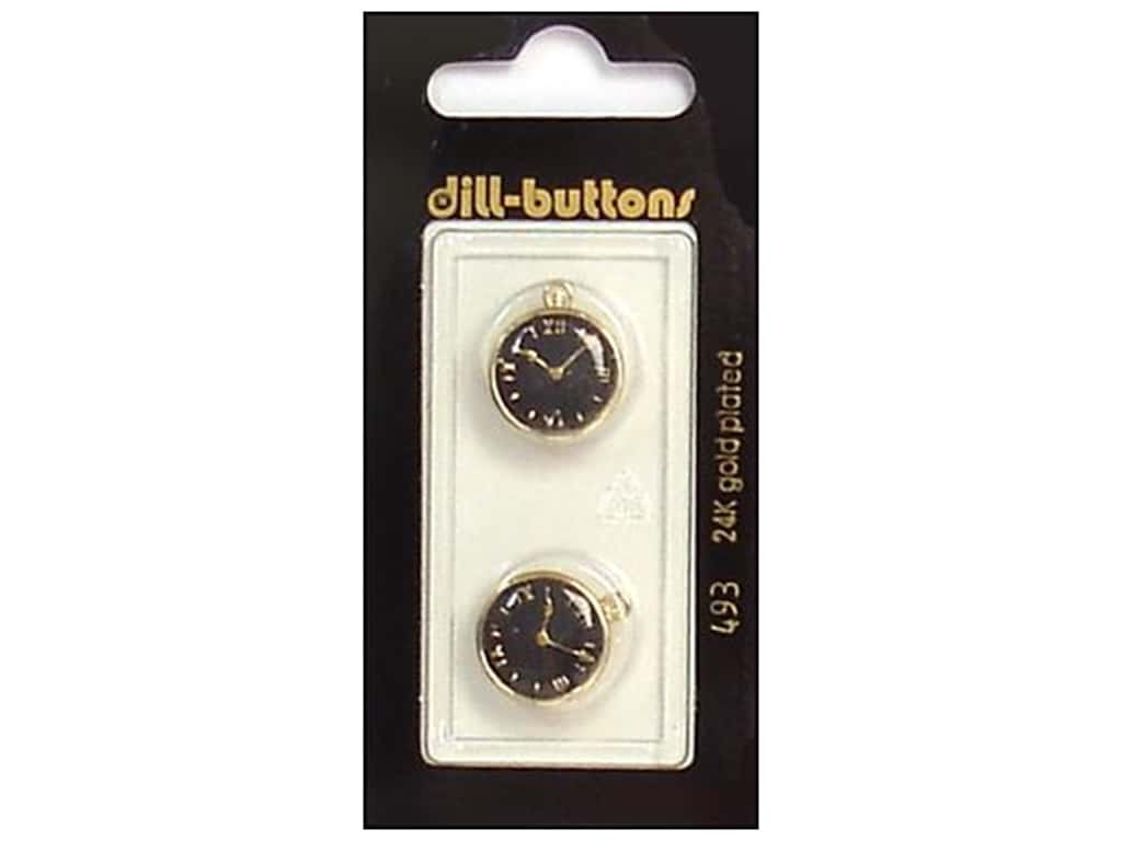 Dill Shank Buttons 5/8 in. Enamel Black/Gold Watch #493 2 pc.