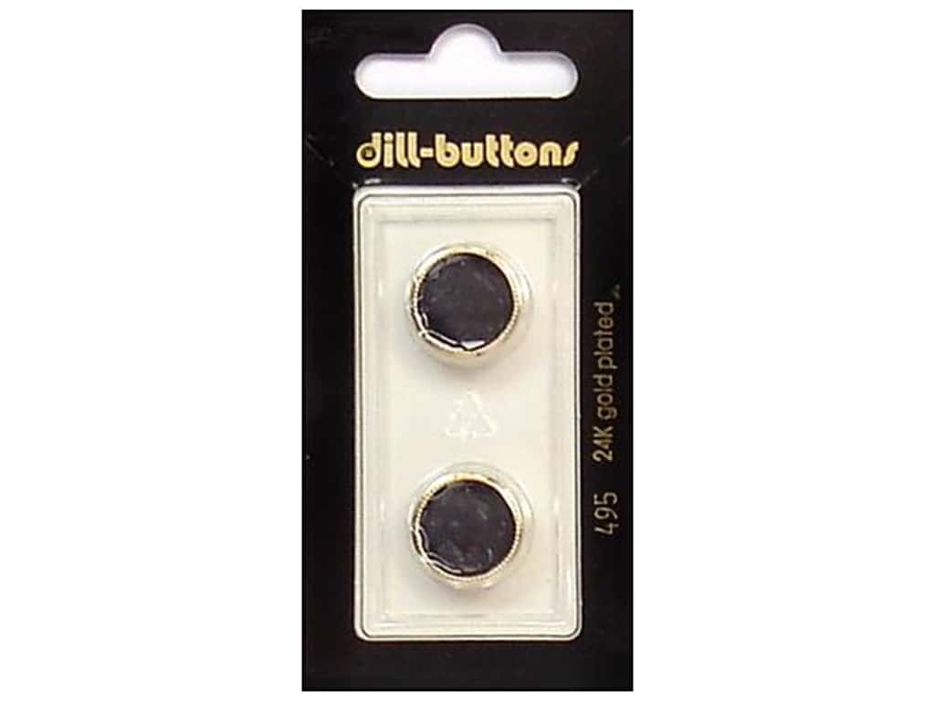 Dill Shank Buttons 5/8 in. Black/Gold #495 2 pc.