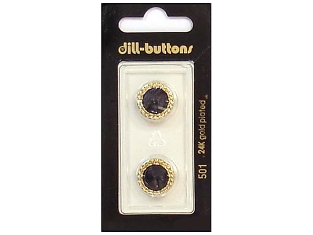 Dill Shank Buttons 5/8 in. Black/Gold #501 2 pc.