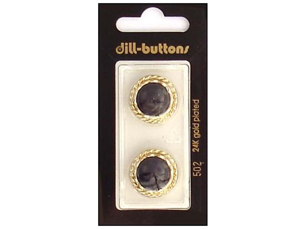 Dill Shank Buttons 13/16 in. Black/Gold #502 2 pc.