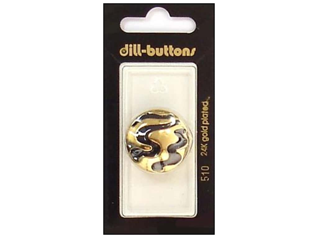 Dill Shank Buttons 1 in. Enamel Black/Gold #510 1 pc.