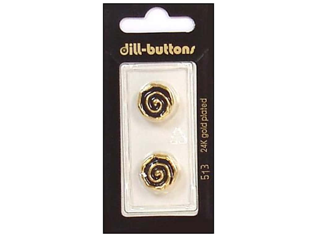 Dill Shank Buttons 5/8 in. Enamel Black/Gold #513 2 pc.