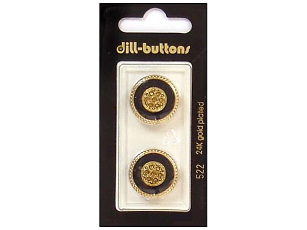 Dill Shank Buttons 13/16 in. Enamel Black/Gold #522 2 pc.