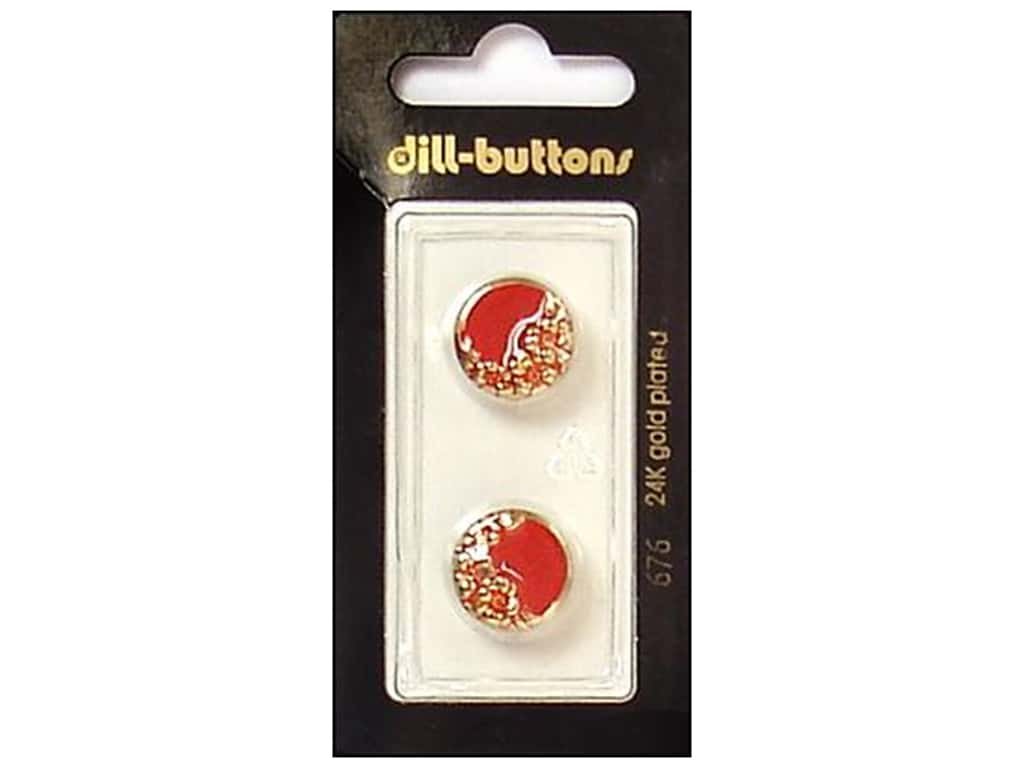 Dill Shank Buttons 5/8 in. Enamel Red/Gold #676 2 pc.