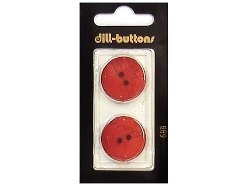 Dill 2 Hole Buttons 7/8 in. Red #688 2 pc.