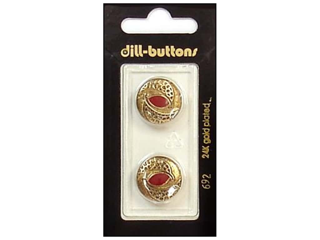 Dill Shank Buttons 11/16 in. Enamel Red/Gold #692 2 pc.