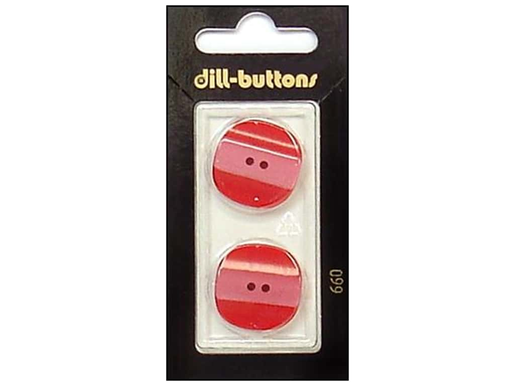 Dill 2 Hole Buttons 7/8 in. Red #660 2 pc.