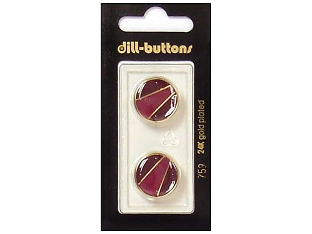 Dill Shank Buttons 11/16 in. Enamel Wine Red/Gold #759 2 pc.