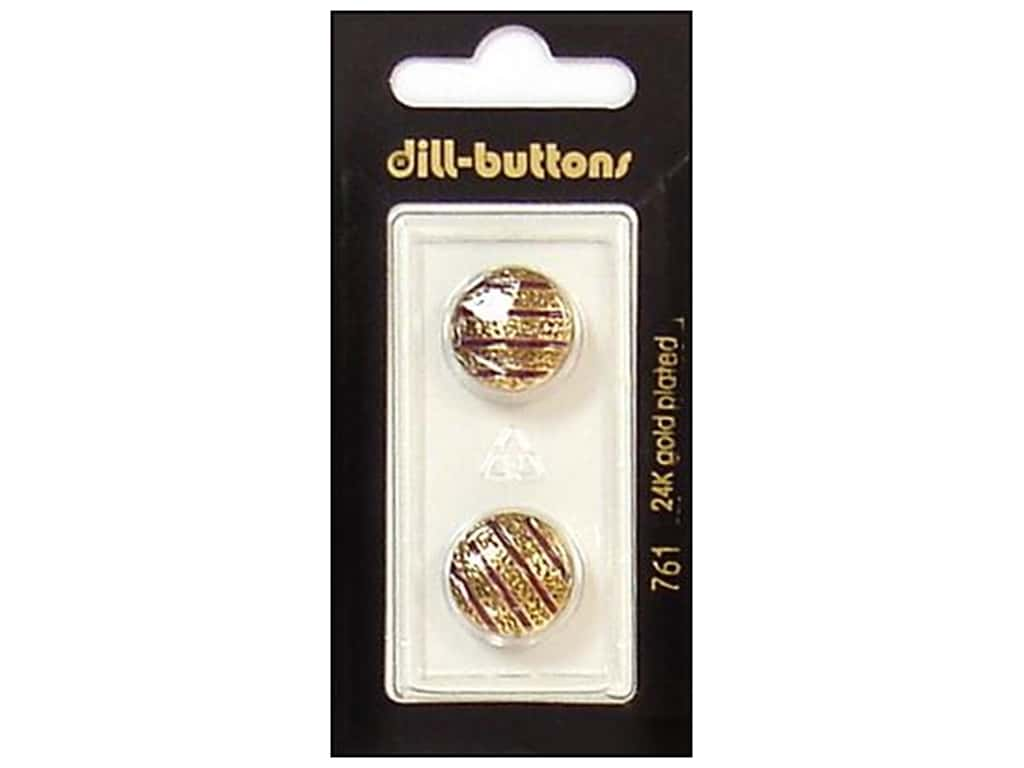 Dill Shank Buttons 5/8 in. Enamel Wine Red/Gold #761 2 pc.