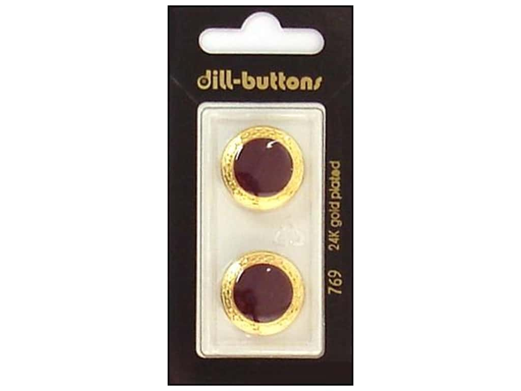 Dill Shank Buttons 13/16 in. Enamel Wine Red/Gold #769 2 pc.