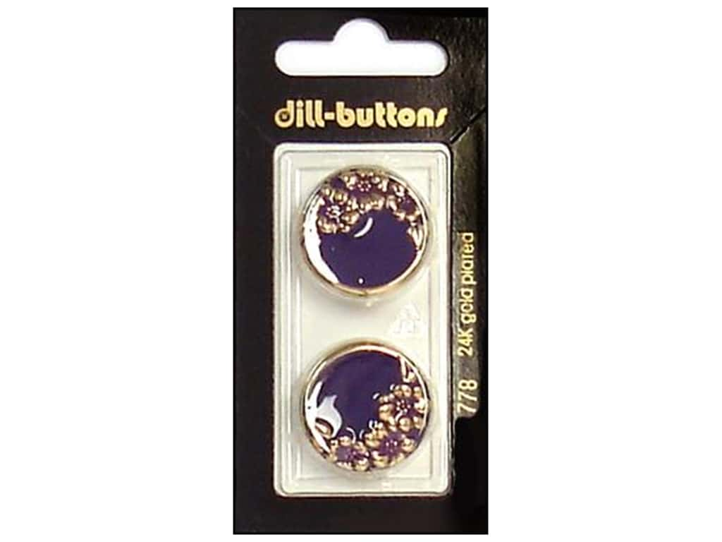 Dill Shank Buttons 7/8 in. Enamel Purple/Gold #778 2 pc.