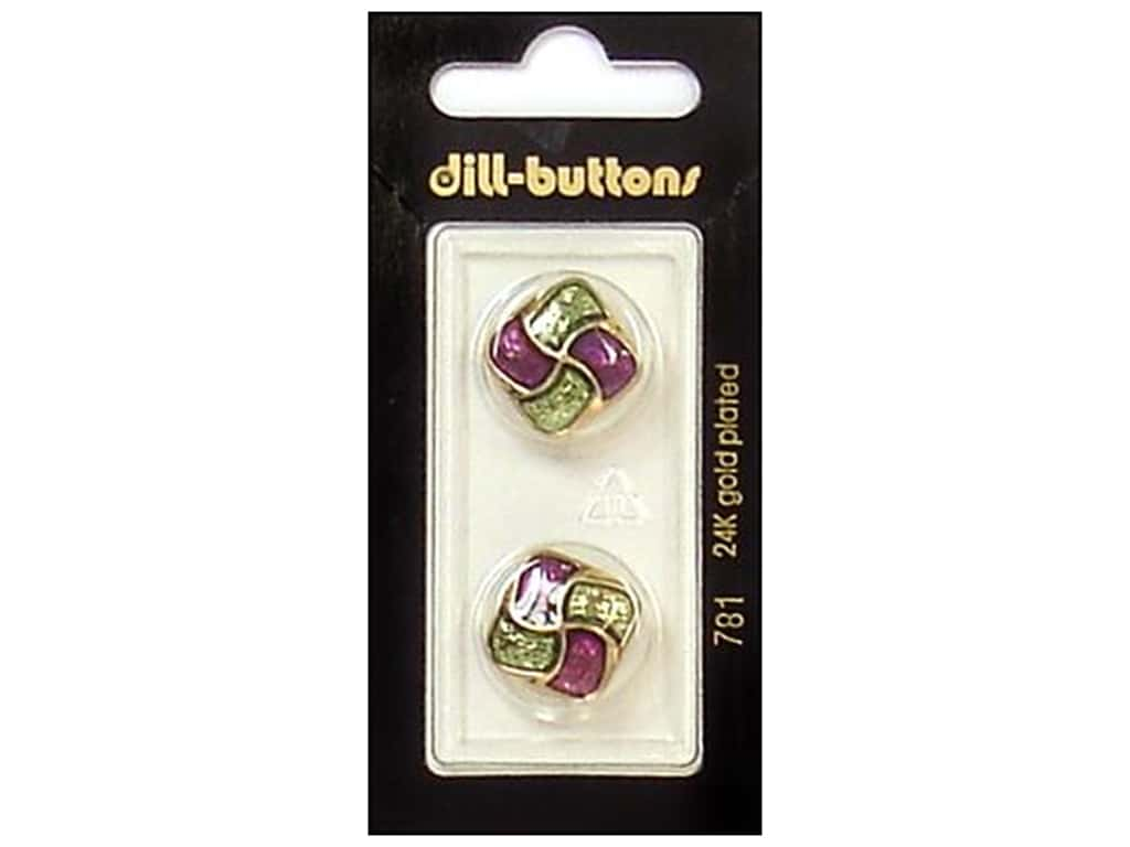 Dill Shank Buttons 11/16 in. Enamel Purple/Green/Gold #781 2 pc.