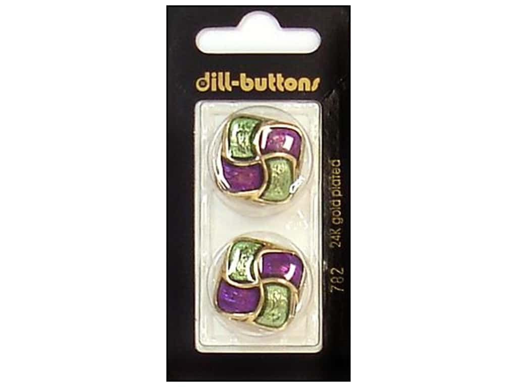 Dill Shank Buttons 1 in. Enamel Purple/Green/Gold #782 2 pc.
