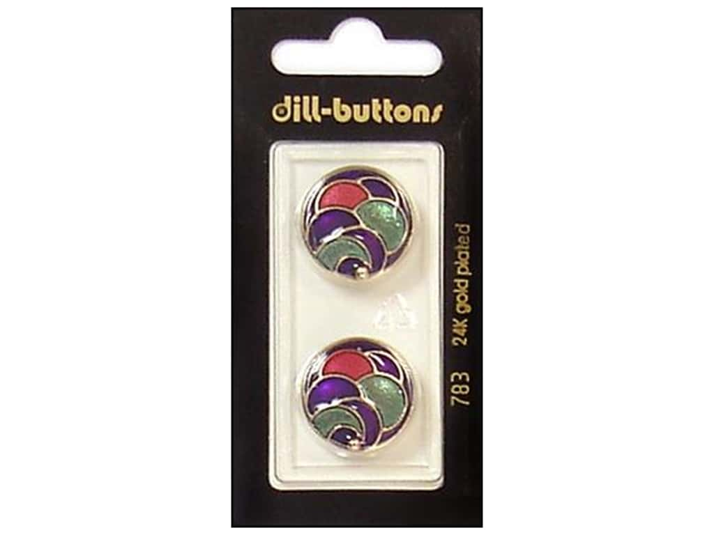 Dill Shank Buttons 13/16 in. Enamel Gold/Multi #783 2 pc.