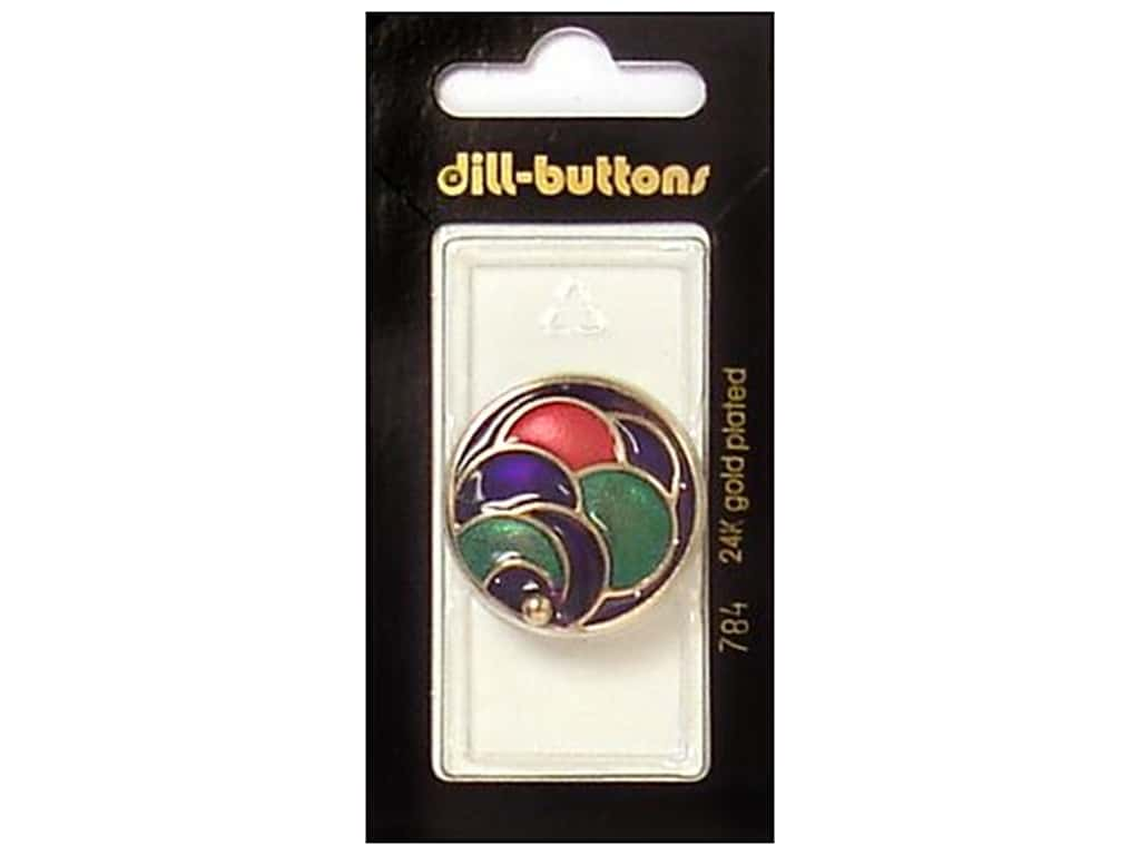 Dill Shank Buttons 1 1/8 in. Enamel Gold/Multi #784 1 pc.