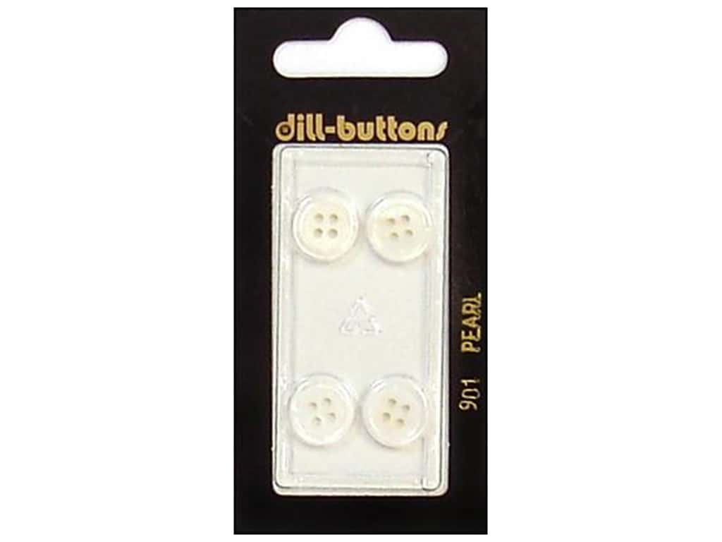 Dill 4 Hole Buttons 7/16 in. Pearlized White #901 4 pc.