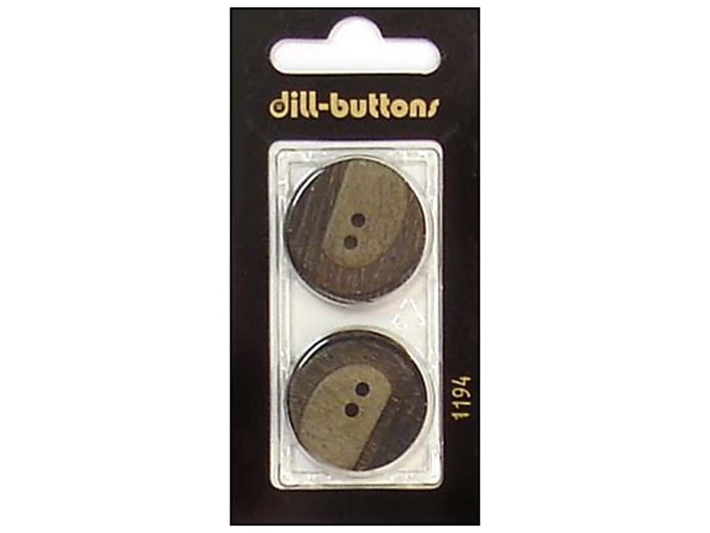 Dill 2 Hole Buttons 25 mm Brown #1194 2 pc.