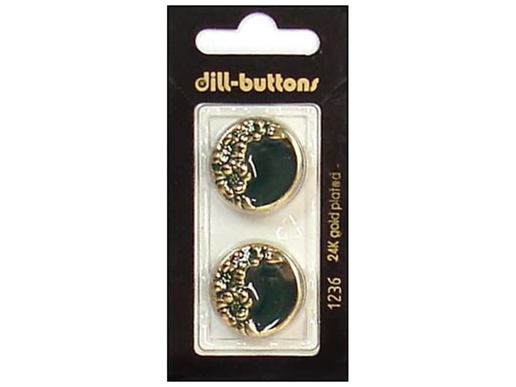 Dill Shank Buttons 7/8 in. Enamel Green/Gold #1236 2 pc.