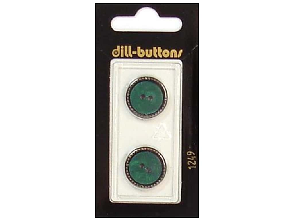 Dill 2 Hole Buttons 11/16 in. Dark Green/Gold #1249 2 pc.