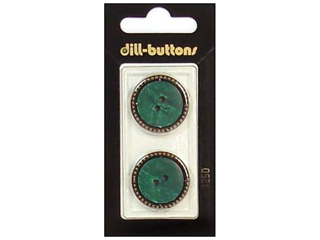 Dill 2 Hole Buttons 7/8 in. Dark Green/Gold #1250 2 pc.