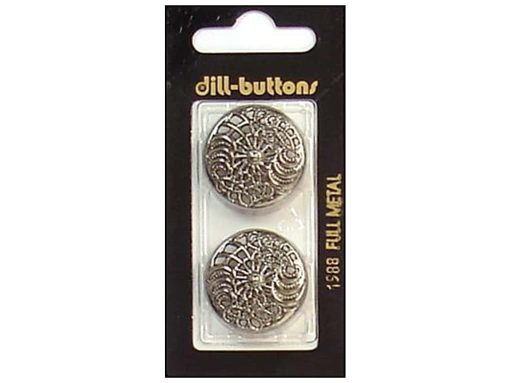 Dill Shank Buttons 1 in. Antique Silver Metal #1988 2 pc.