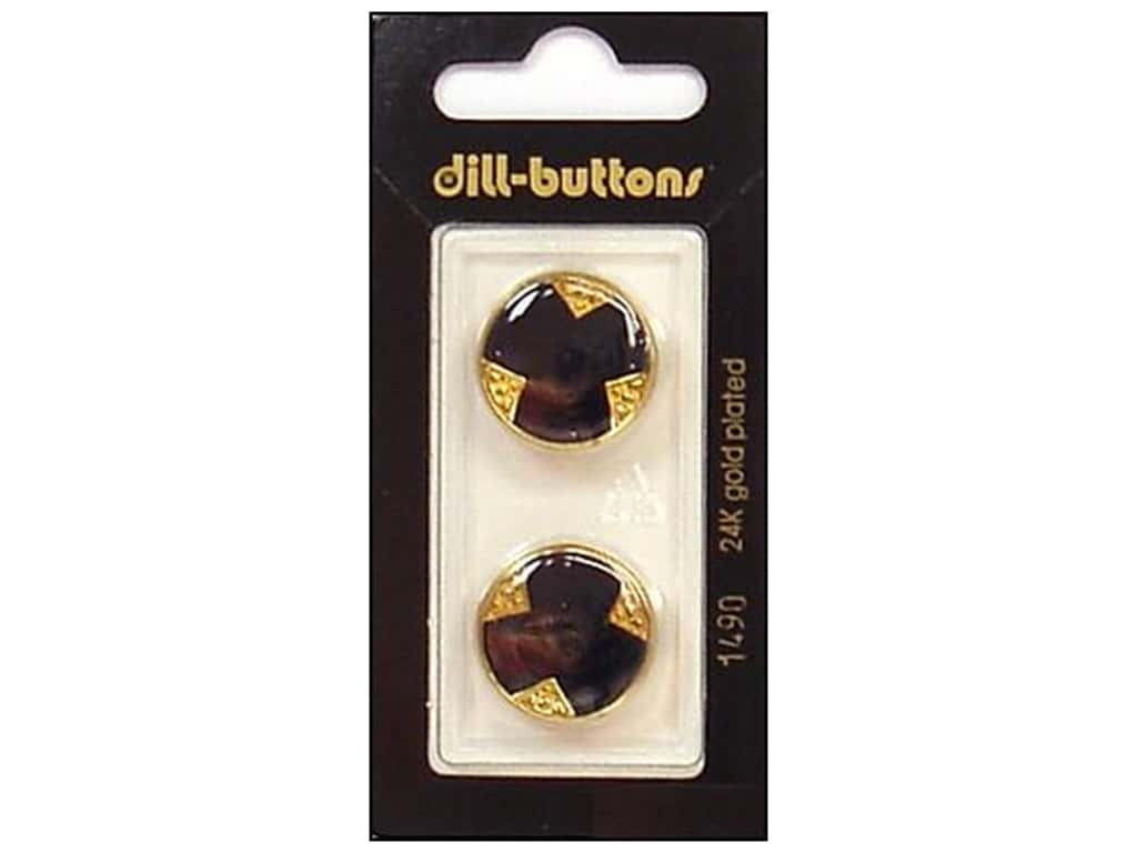 Dill Shank Buttons 13/16 in. Enamel Navy/Gold #1490 2 pc.