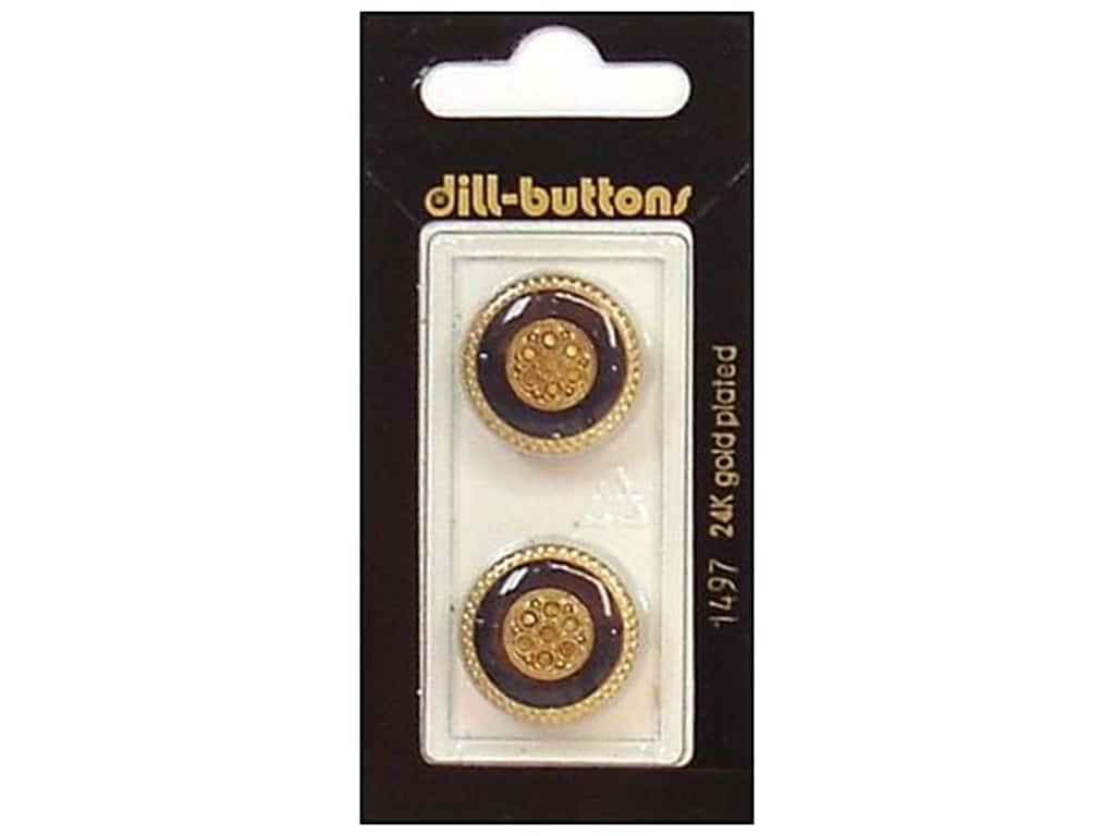 Dill Shank Buttons 13/16 in. Enamel Navy/Gold #1497 2 pc.