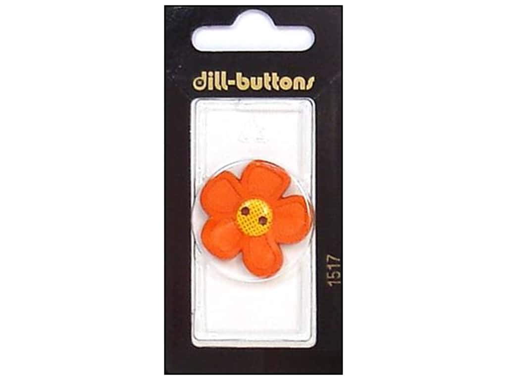 Dill 2 Hole Buttons 1 1/8 in. Orange Flower #1517 1 pc.