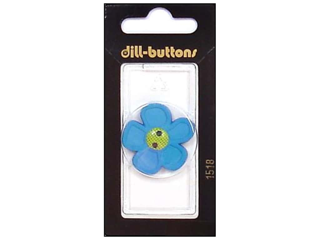 Dill 2 Hole Buttons 1 1/8 in. Blue Flower #1518 1 pc.