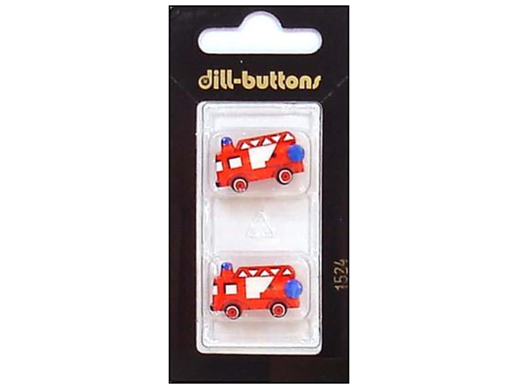Dill Shank Buttons 7/8 in. Red Fire Truck #1524 2 pc.