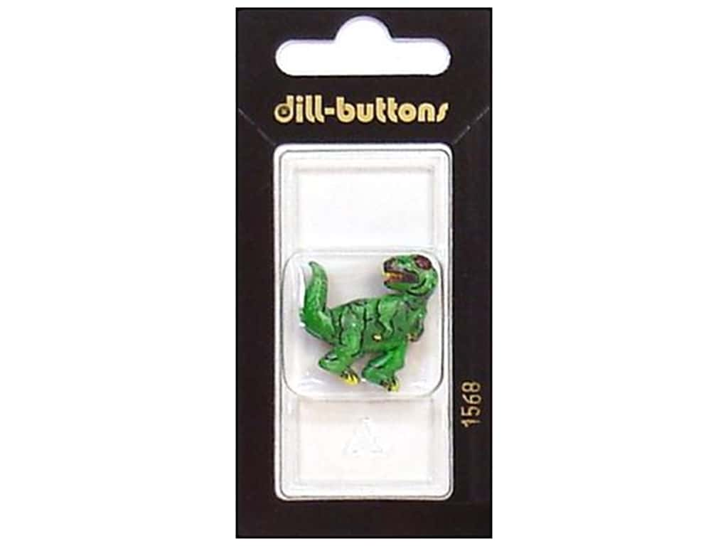 Dill Shank Buttons 1 1/8 in. Green Dinosaur #1568 1 pc.