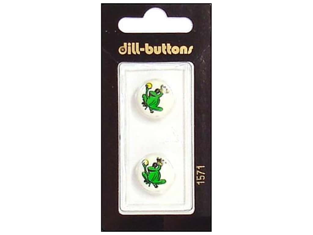 Dill Shank Buttons 5/8 in. Green Frog Prince #1571 2 pc.