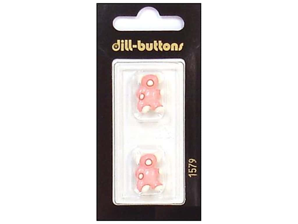 Dill Shank Buttons 11/16 in. Pink/White Bear #1579 2 pc.